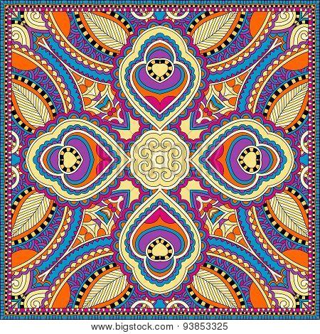 silk neck scarf or kerchief square pattern design in ukrainian