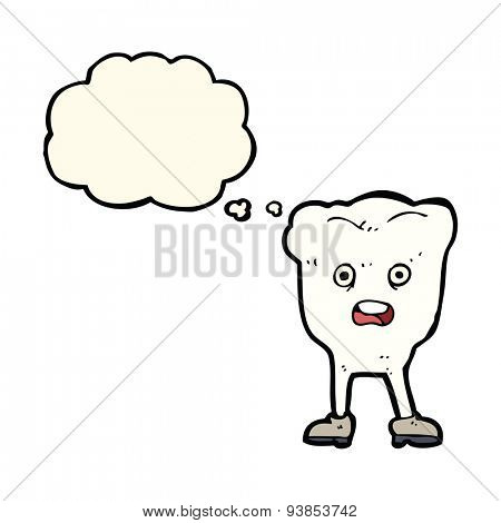 cartoon tooth looking afraid with thought bubble