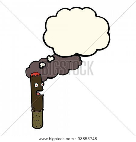 cartoon cigar with thought bubble