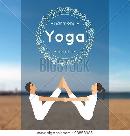 Yoga poster with couple of man and woman in the yoga pose on a blurred photo