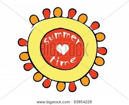 Cartoon Red And Yellow Sun