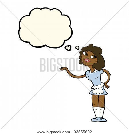 cartoon waitress serving with thought bubble