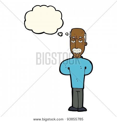 cartoon annoyed balding man with thought bubble