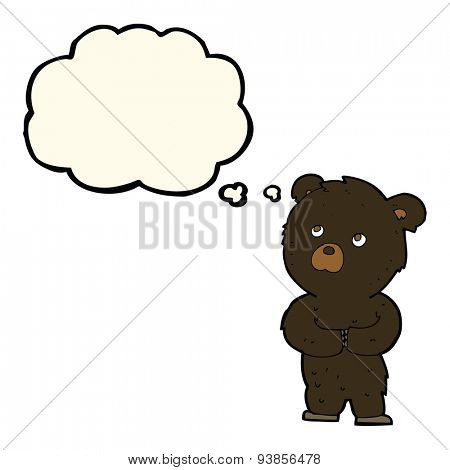 cartoon black bear cub with thought bubble