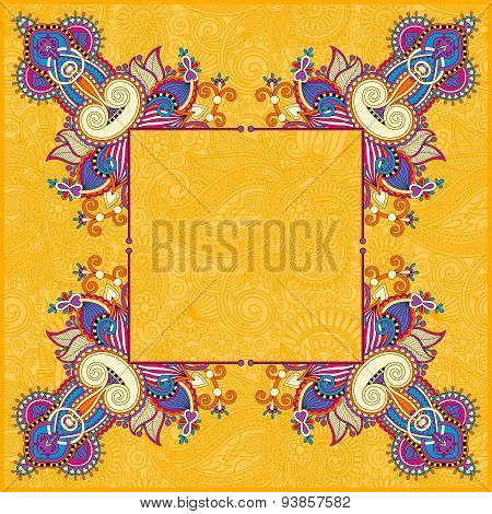 yellow floral frame, ethnic ukrainian ornament