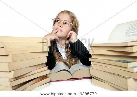 Little Thinking Student Blond Braided Girl Glasses Smiling