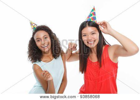 Positive ladies having birthday party