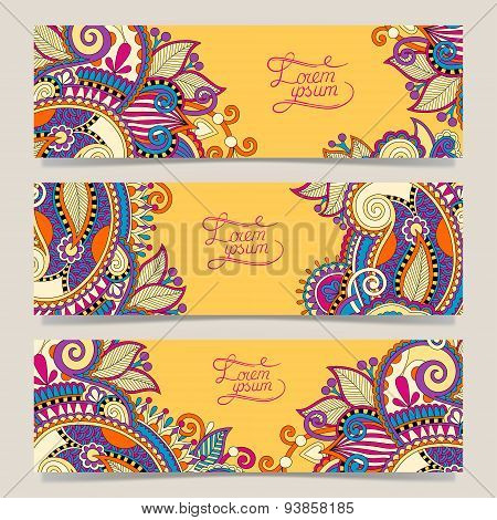 Set of three yellow horizontal banners with decorative ornamenta