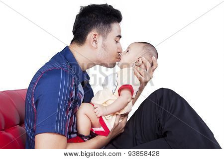 Dad Kiss The Lips Of Baby