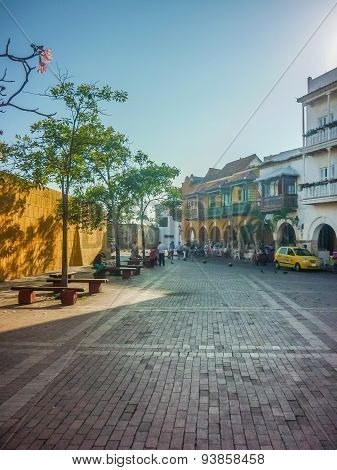 Colonial Style Street In Cartagena Colombia