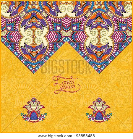 yellow decorative template for greeting card or wedding invitati