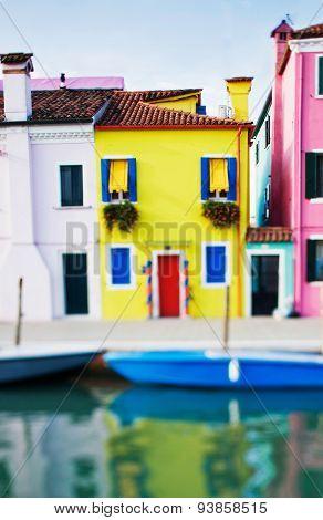 Tilt Shift Photo Of Yellow House In Burano Island Near Venice