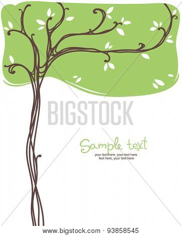 card design with stylized tree