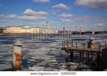 drifting ice on the Neva