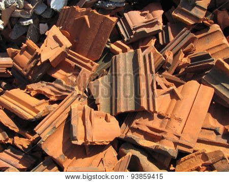 Photo Of Pile Of Broken Bricks And Roof Tiles