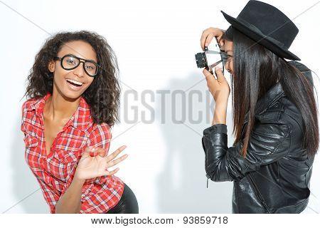 Vivacous friends taking photos