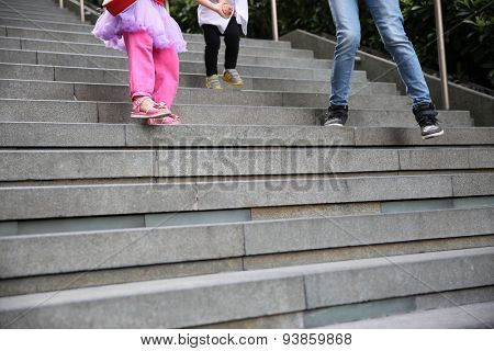 Down the stairs