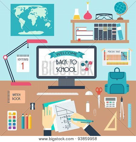 Welcome To School. Back To Scholl. Workplace. Flat Design. Vector Illustration