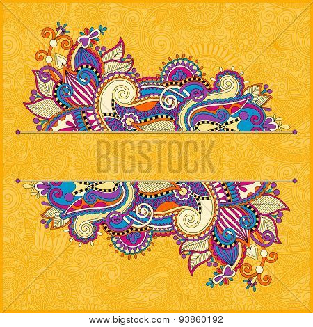 oriental yellow template for greeting card or wedding invitation