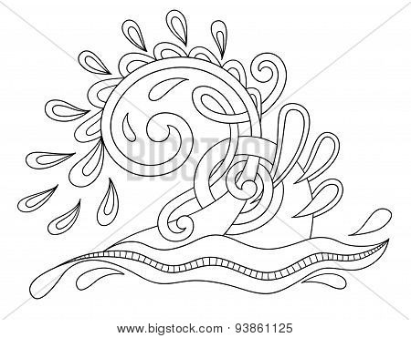 black white decorative aquatic wave with sparks and drops