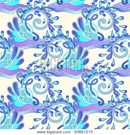 seamless decorative aquatic blue wave with sparks and drops back