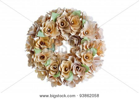 Birch Wood Wreath On White Background