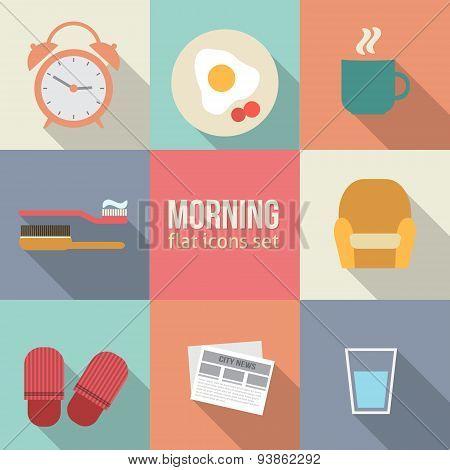 Morning time icons set