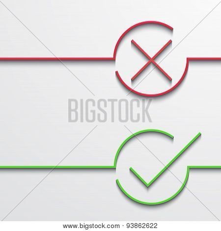 Vector modern green and red check mark