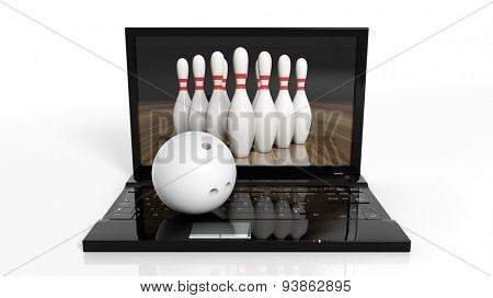 Bowling ball and pins on laptop isolated on white background