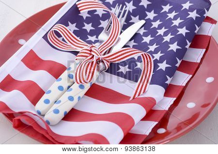 Usa Party Table Place Setting With Flag On White Wood Table.