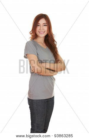 Woman With Arms Crossed, Wearing T-shirt