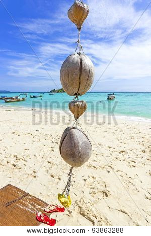 Coconut Decoration On A Tropical Beach, Summer Background.