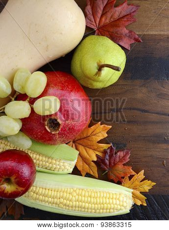 Thanksgiving Fall Autumn Harvest Wood Background.