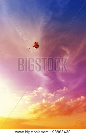 Paraglider At Beautiful Sunset, Summer Adventure In Malaysia.