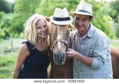 Country living, happy loving couple