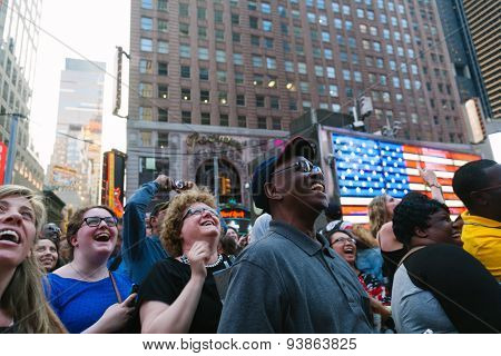 New York City - June 11: People Having Fun With The Screen Shows In Times Square, One Of The Most Vi