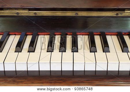 Piano Keys And Wood Grain