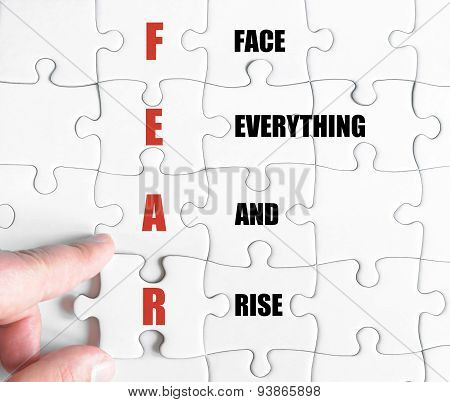 Last Puzzle Piece With Business Acronym Fear
