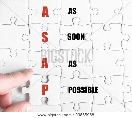 Last Puzzle Piece With Business Acronym Asap