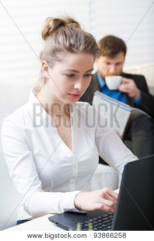 Young Woman During Work