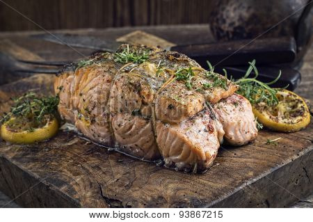 Salmon Fillet on an old rustic Chopping Board