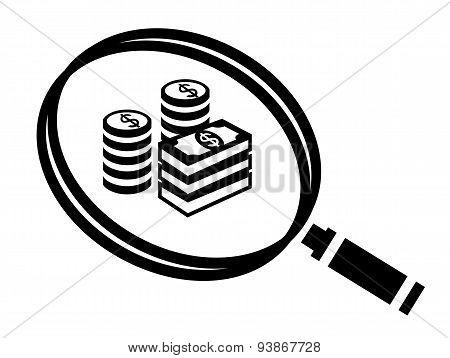 Magnifier Find Money Icon