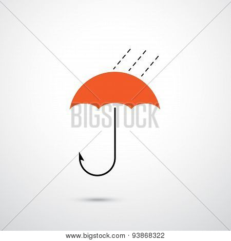 Hooks And Red Umbrella. Trap And Security Concept. Business And Protection Idea.