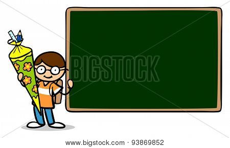 Child with school cone standing in front of a blackboard at first day of school