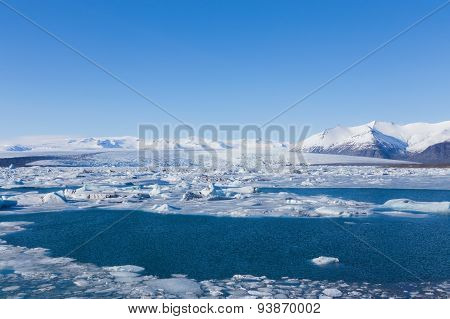 Floating ice in Jokulsarlon lagoon of icebergs in Iceland