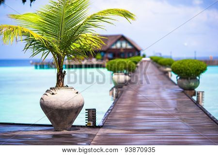 Beautiful tropical view of perfect ideal island and wooden jetty