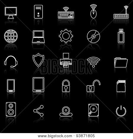 Computer Line Icons With Reflect On Black
