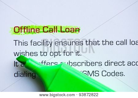 Offline Call Loan