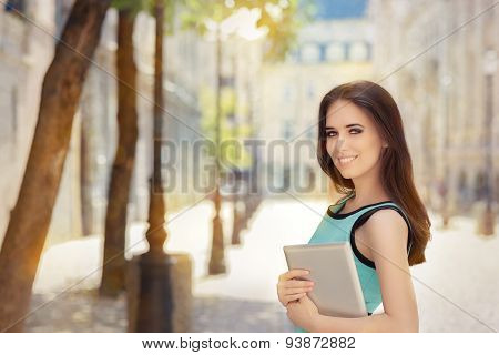 Woman with Pc Tablet Out in the City
