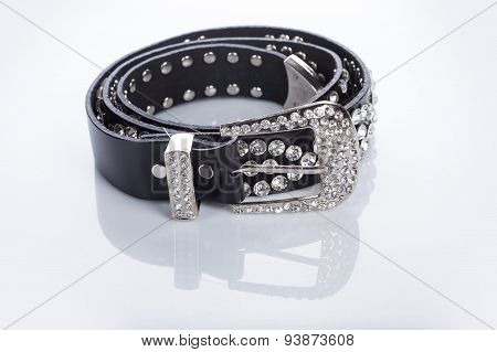 Black Women's belt with rhinestones